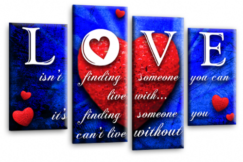 Love Heart Quote Canvas Wall Art Picture Red Blue White Print